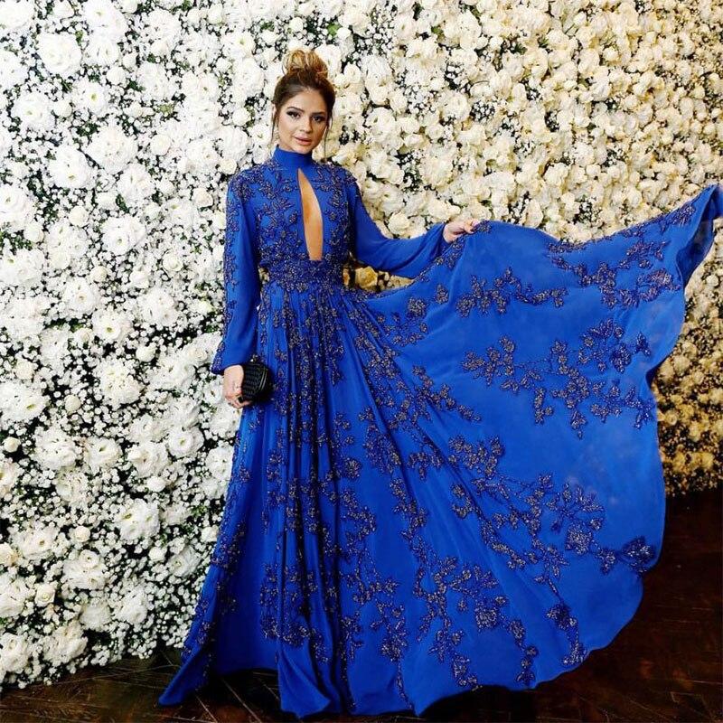 Vestido Longo Long Evening Dress Royal Blue Prom Dress Party Dresses Long Sleeve Applique Beaded Formal Dress Robe De Mariee