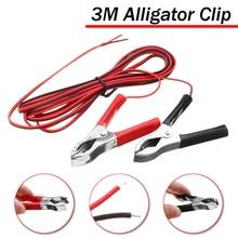 Clips pour batterie de voiture   Pince dalligator de couleur rouge + noire 3A de 300cm de long, Clips pour batterie de voiture isolée en cuivre plaqué cuivre en Alligator 2 pièces