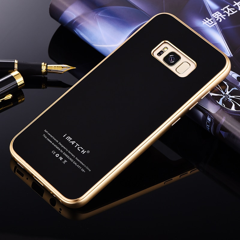 Original iMatch aluminio Metal teléfono funda para Samsung Galaxy S8/S8 Plus de lujo 9H dureza de vidrio templado funda de fundas traseras duras