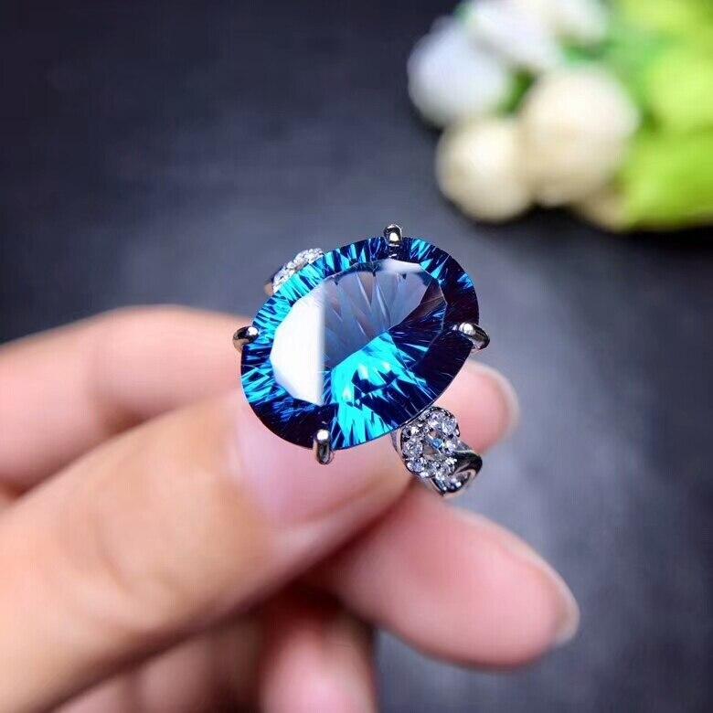 MeiBaPJ модное женское кольцо с натуральным лондонским голубым топазом