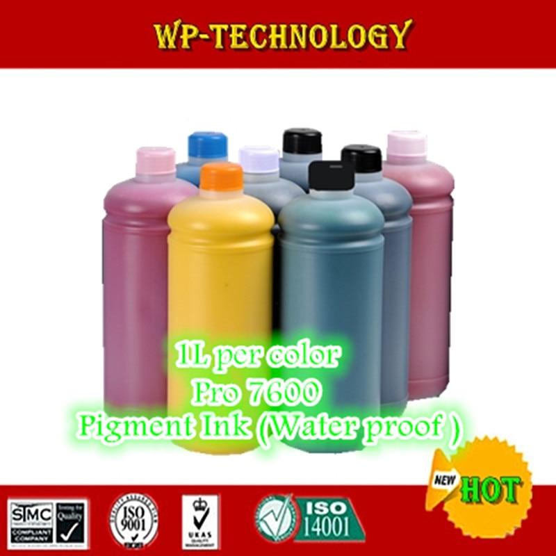 Traje de tinta de pigmento 8PK para impresora EPSON pro 7600 series, 1000 mL por color, 8000 ML en total, tinta a prueba de agua de calidad.