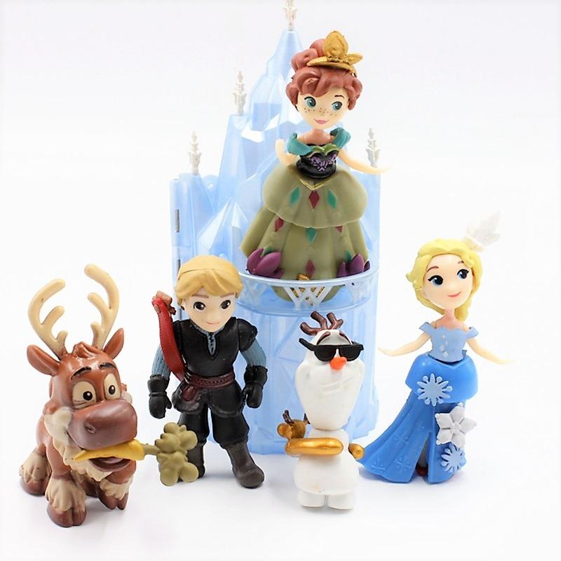 Disney Toys 6pcs/Lot 6-16cm Frozen Anna Elsa Princess Olaf Sven Kristoff And Castle Ice Palace Throne Pvc Action Figure Doll