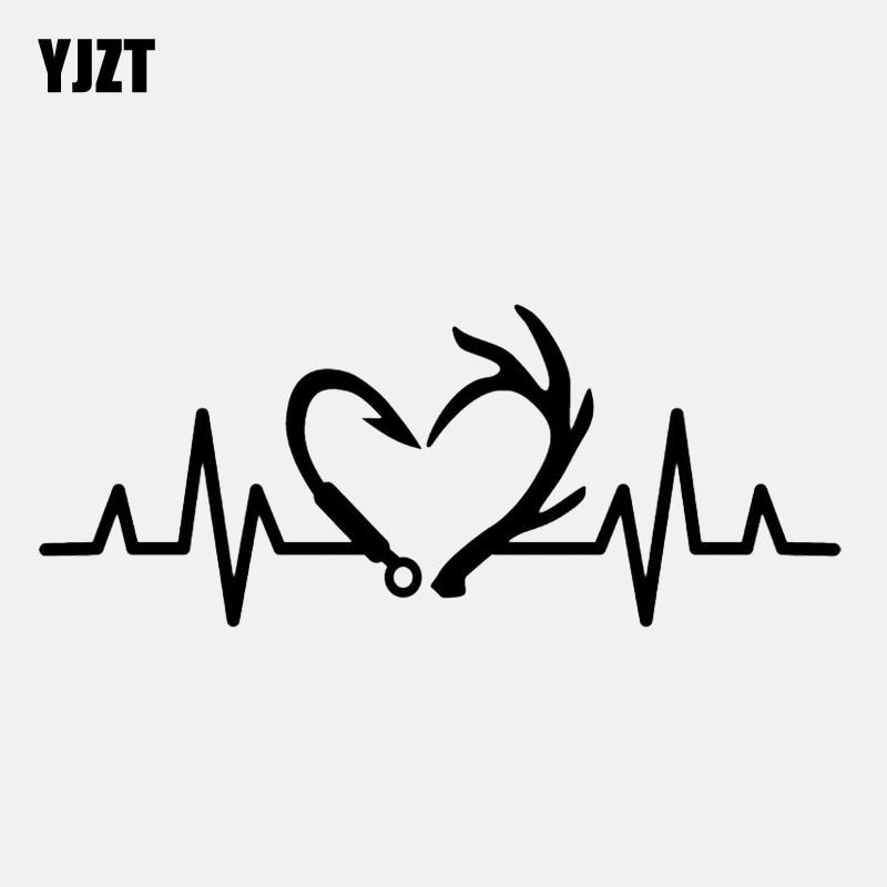 Yjzt gancho de pesca de caça, 16.4cm * 6.6cm, batimento cardíaco, vinil preto/prata, adesivo para carro, C22-1278