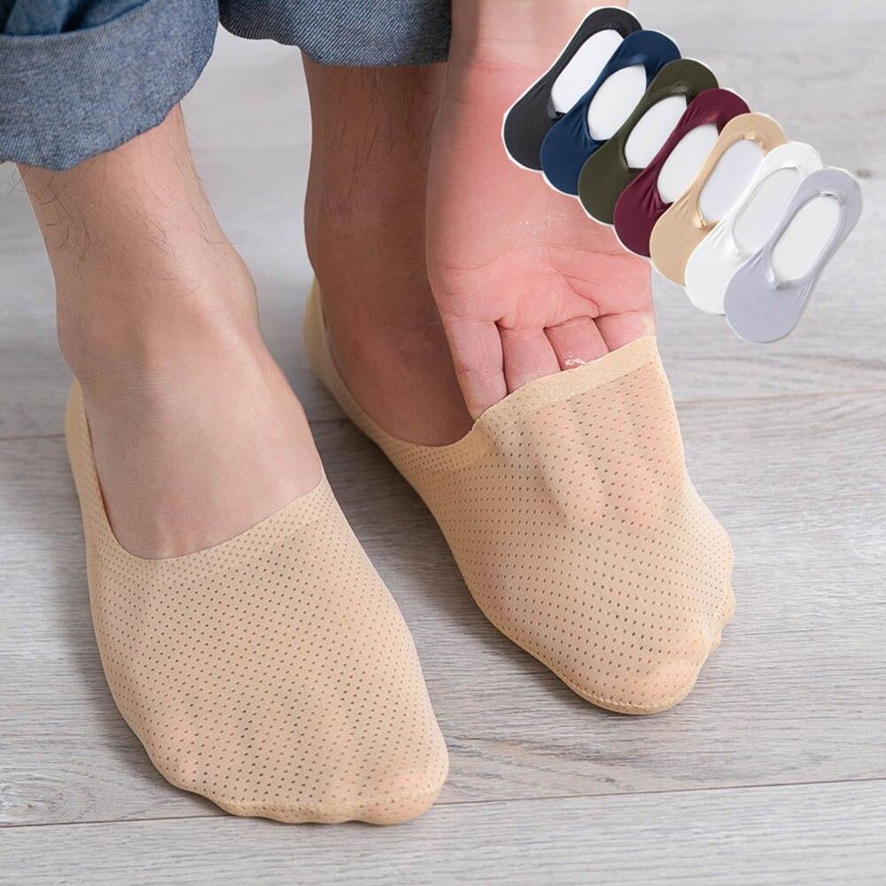 Nuevo verano Cool Silk Man tobillo calcetín sólido ultradelgado sección Invisible transpirable silicona Anti-caída talón masculino corto calcetín
