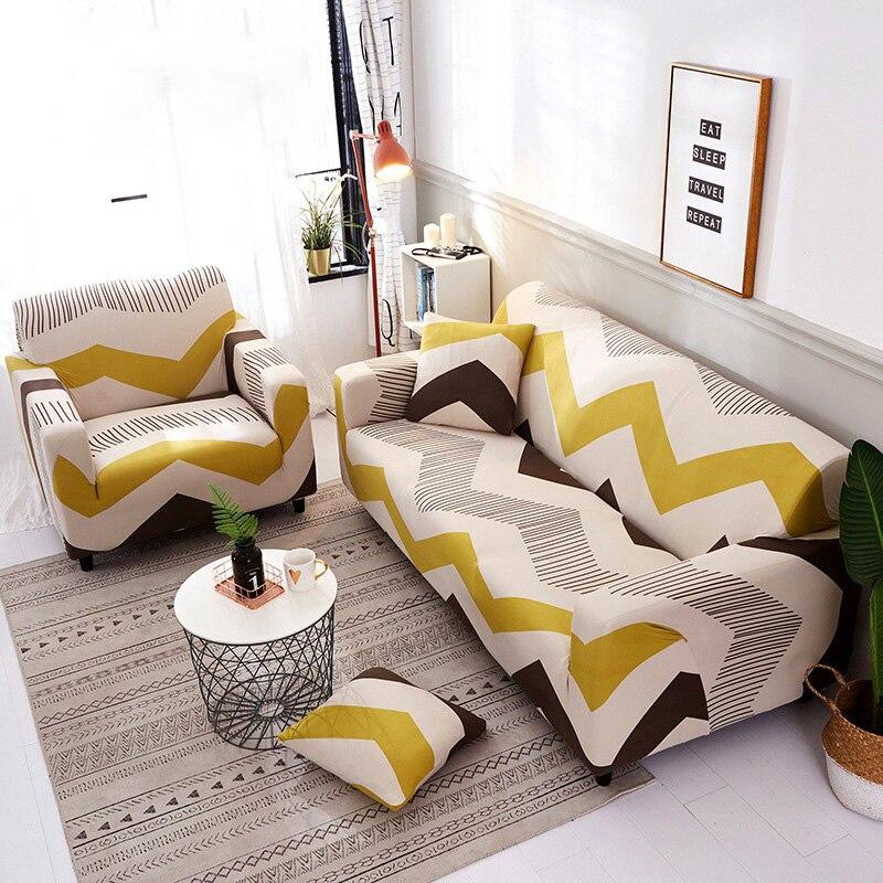 WLIARLEO Geometric Sofa Covers Full wrap Elastic Seat Slipcover Stretch Anti-Mite Corner Sofa Cover funda de sofa 1/2/3/4 plaza