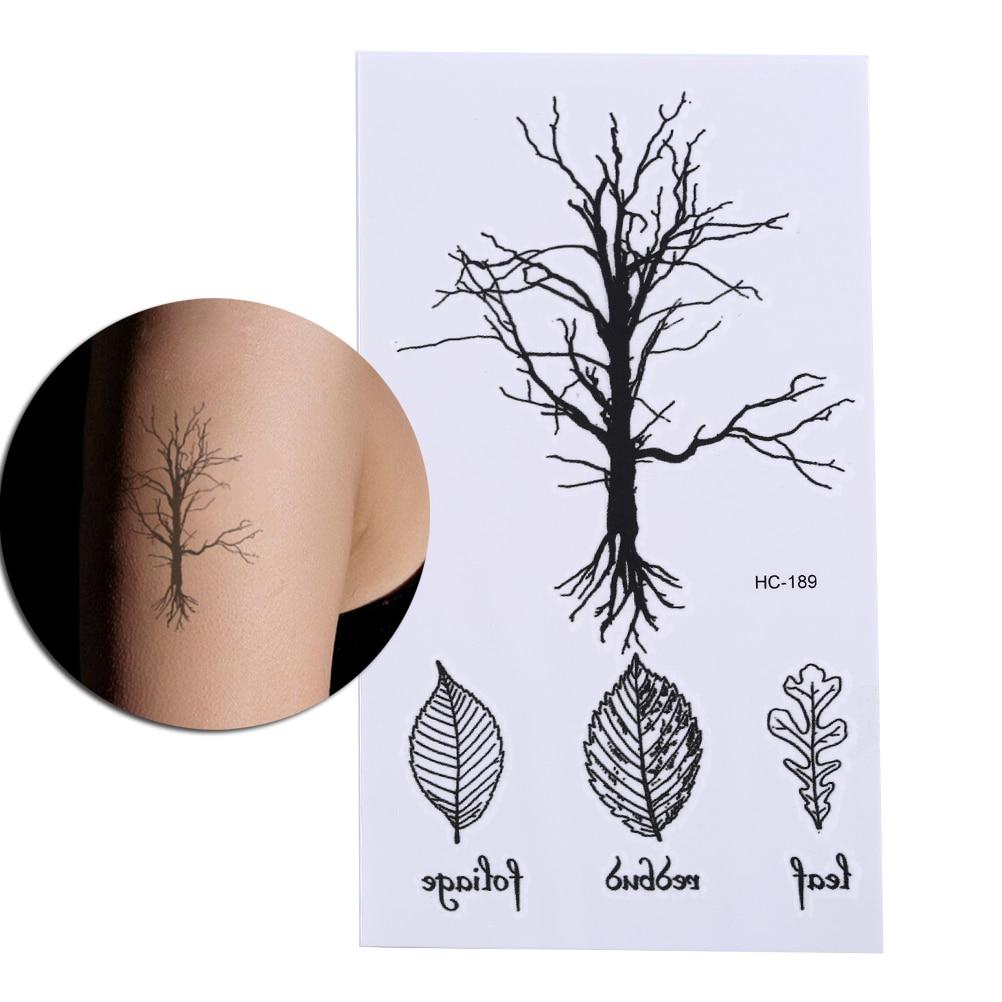 1 Uds falsos temporales pegatinas de tatuaje Vintage impermeable DISEÑO DE ÁRBOL NEGRO brazo pierna cuerpo arte maquillaje herramienta