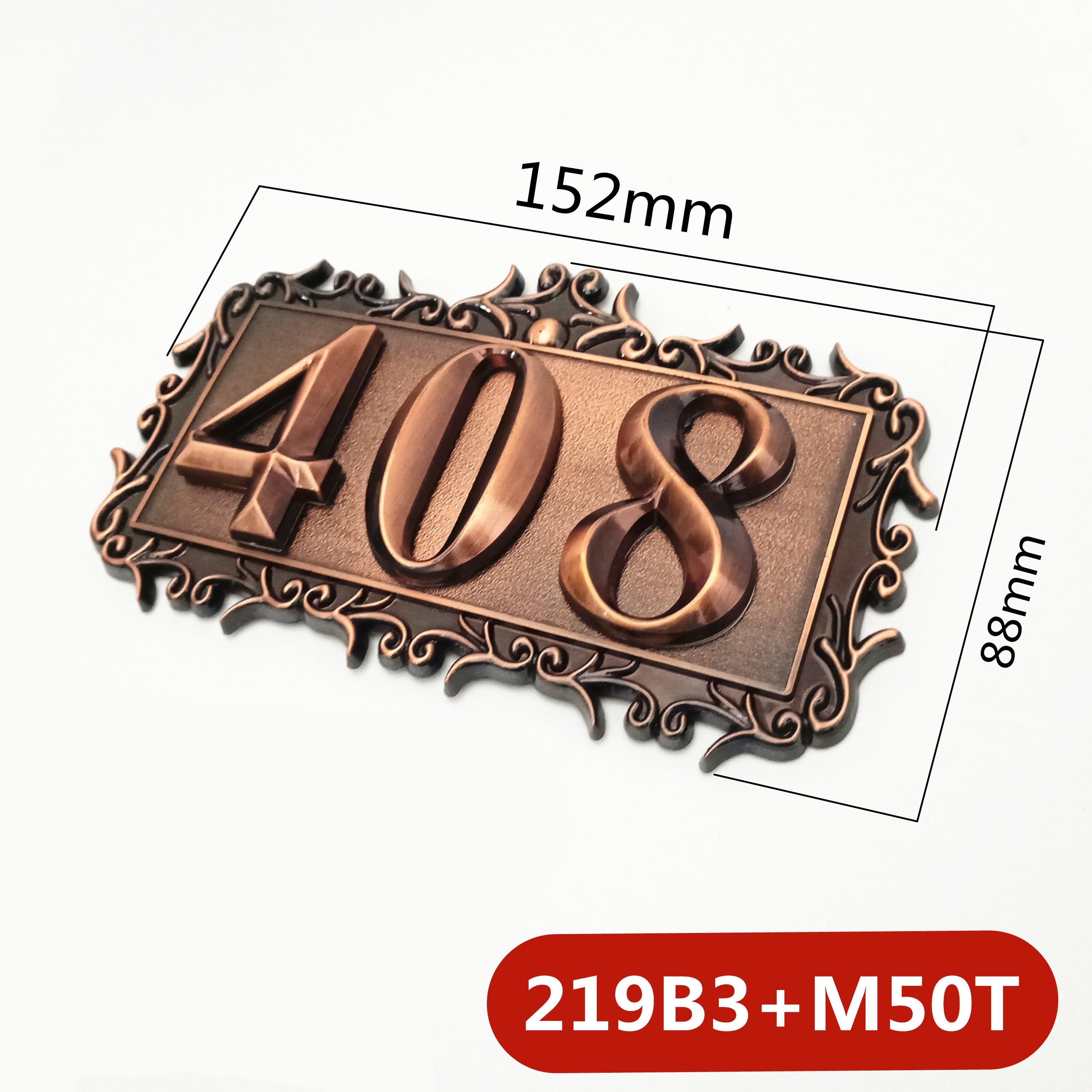 Three digits ABS Plastic Imitation Metal Bronze House Number Custom Sign Door Number Sticker For Hotel Apartment Door Plate
