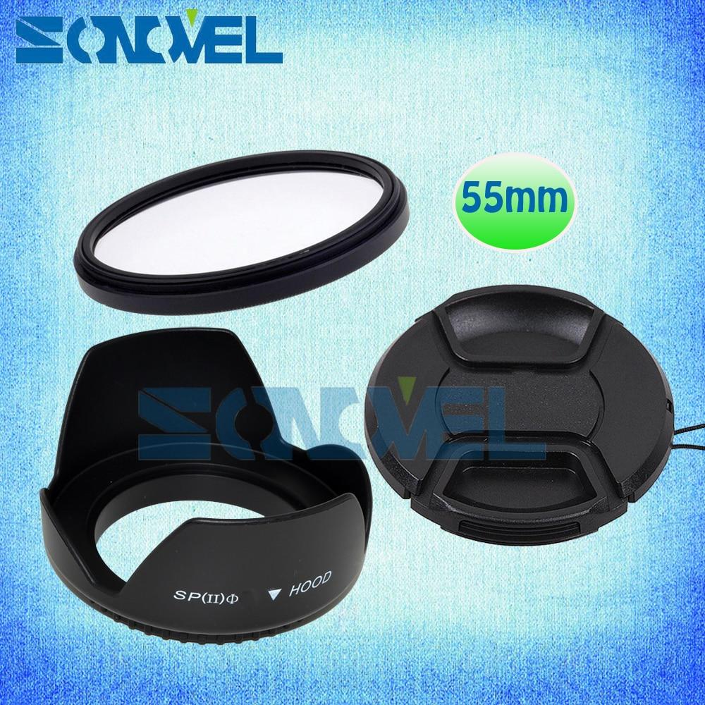 Filtro UV de 55mm + tapa de lente frontal + capucha de lente de flor para Nikon D5600 D5500 D5300 D7500 D3400 D3300 D750 D5 y Nikon AF-P lente de 18-55mm