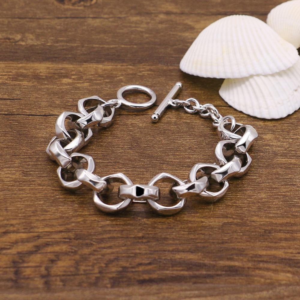 Мужские браслеты и браслеты с серебряным покрытием, новинка, модные ювелирные изделия в стиле панк, Очаровательная Серебристая цепочка 13 мм 23 см, браслет для мальчика