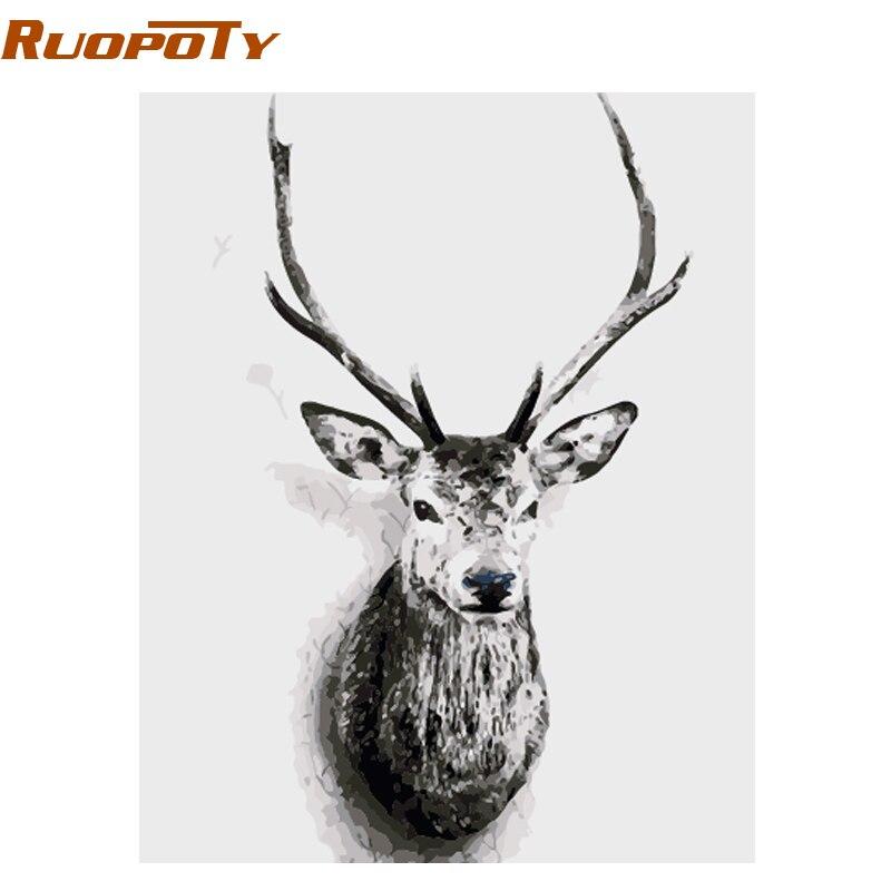 Фоторамка RUOPOTY для самостоятельной сборки, картина по номерам с изображением оленей, животных, в скандинавском стиле, настенная живопись на холсте, ручная работа, уникальный подарок 40x50