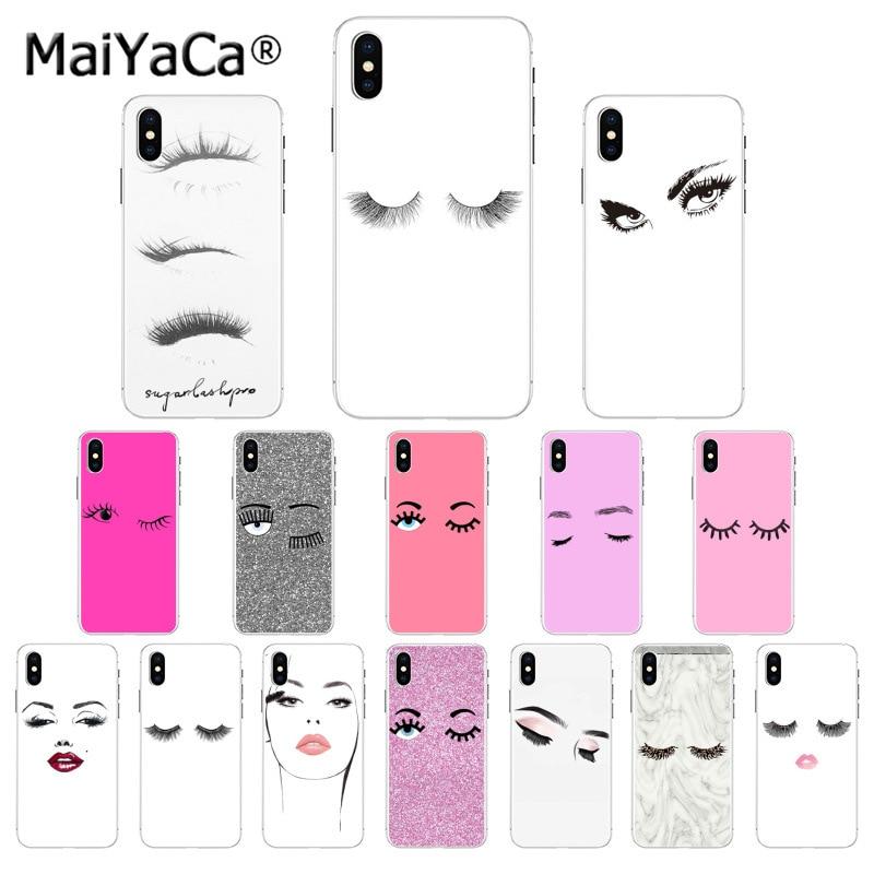 Maiyaca pestañas maquillaje de labios Protector caso para iphone SE 2020 11 pro X XS X MAX 66S 7 7plus 8 8Plus 5S SE XR