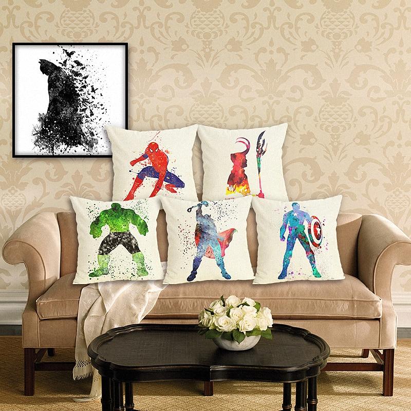 Recolour Super hero Liga de la justicia de Marvel, funda de cojín, funda de almohada, decoración del hogar, 45X45cm, cojines decorativos para sofá