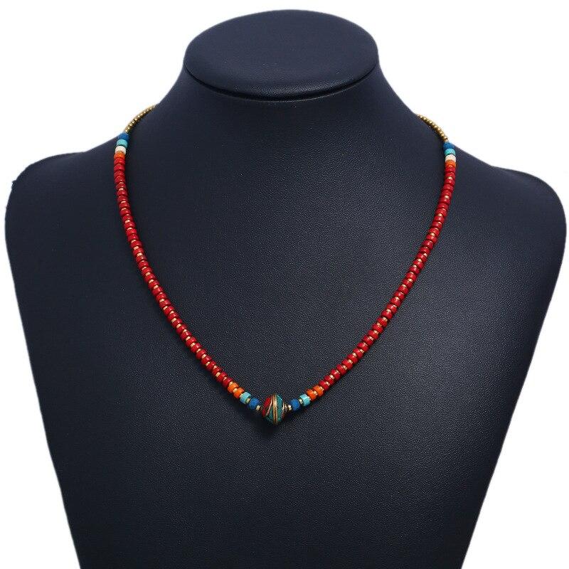 Ожерелье WEIYU, винтажное ожерелье из медных бусин, колокольчики, ожерелье-чокер в этническом стиле, ручная работа, Непальские ювелирные ворот...