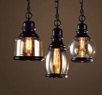 Industrial Loft Glass Pendant Light Retro Vintage Chain Hanging Lamp Fixture Luminaire Cafe Restaurant Kitchen Room Lampara Deco