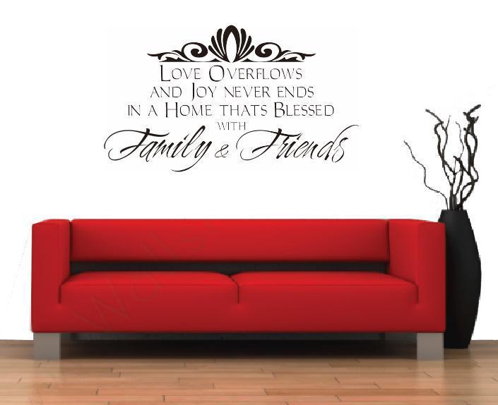Autocollant mural en PVC amovible   Stickers décoratifs, en forme de mot famille et chambre damis