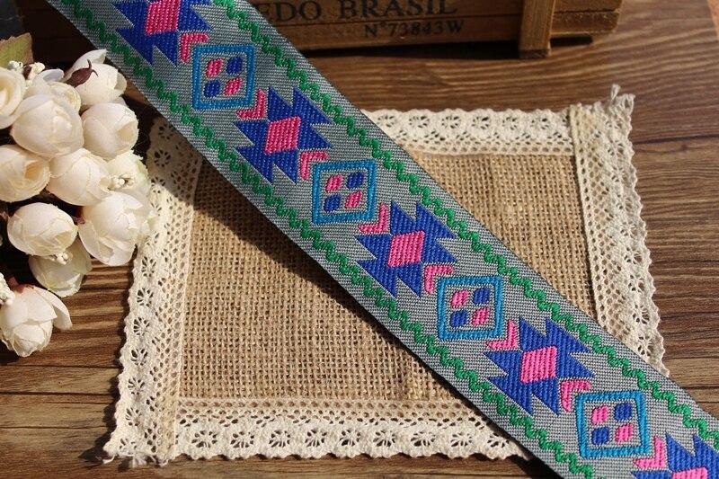 50 mm de largura 10 metros poliéster geométrica estilo folk projeto tecido Jacquard fita