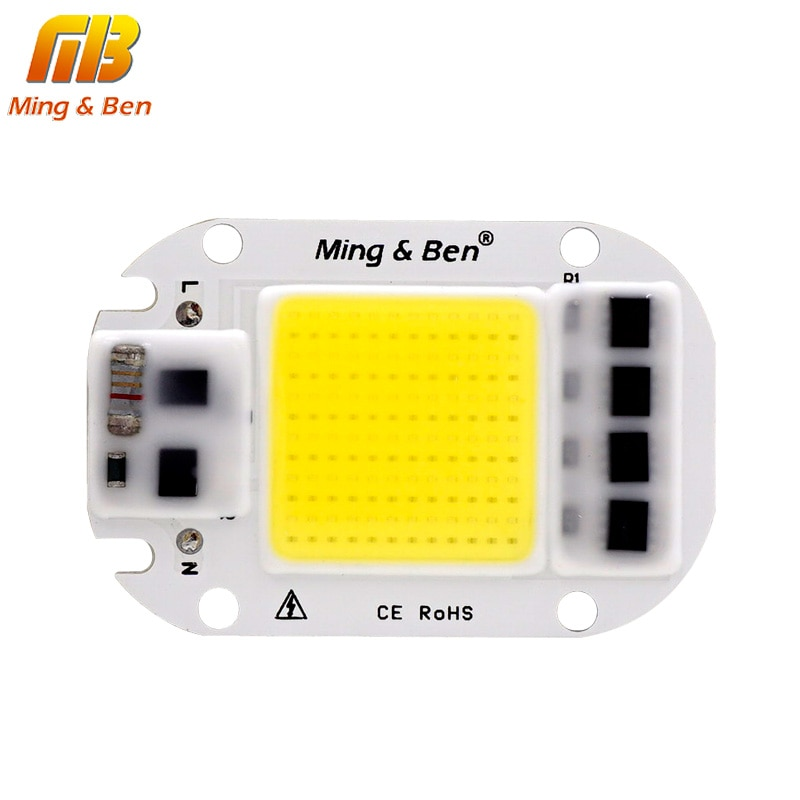 20 Вт 30 Вт 50 Вт Светодиодная лампа COB Чип светодиодный Отражатель объектива 220 В умный IC DIY для светодиодного прожектора нужен радиатор для охлаждения