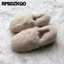 Lightweight 2018 Designer Chinese China Winter Ladies Beautiful Flats Shoes Rabbit Cute Women Slip On Round Toe Cheap Latest Fur