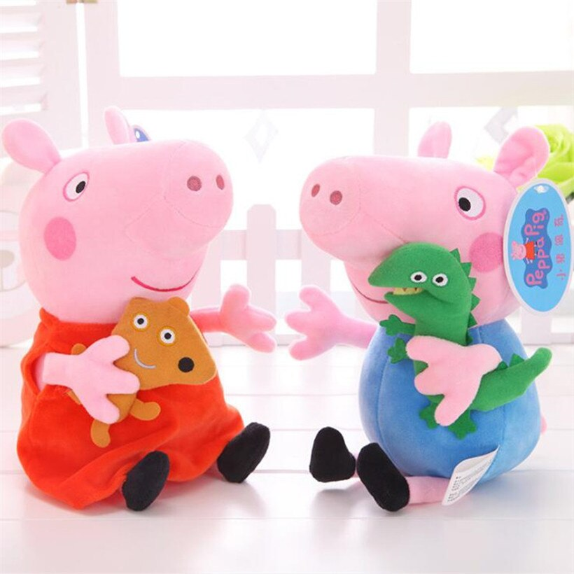 Peppa Pig George, familia, papá, mamá, peluche Original de 19 CM, juguetes de peluche para niños, regalos