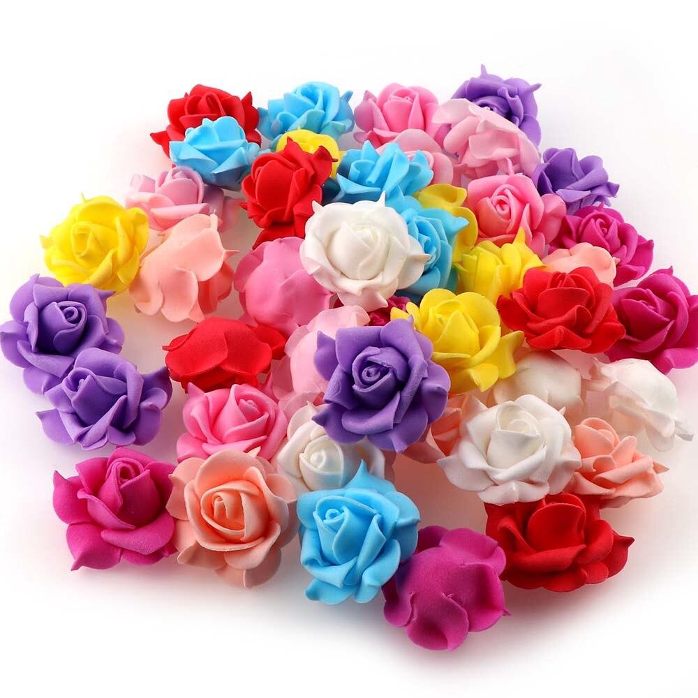20 piezas 3,5 cm Mini volumen lateral Rosa flor decorativa flores artificiales de espuma para DIY fiesta decoración de la boda decoración del hogar