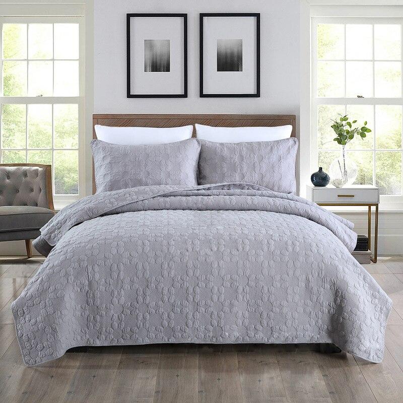 بلون المفرش القطن لحاف مجموعة 3 قطعة المطرزة مبطن لحاف غطاء السرير ملاءات الملك الملكة حجم CHAUSUB بطانيات