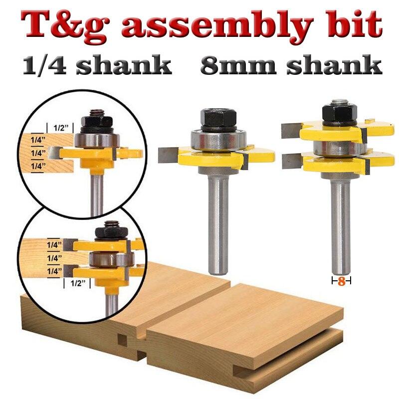Conjunto de 8 brocas enrutadoras de unión de lengüeta y ranura de alta calidad de 2 piezas, 35mm, herramienta de corte de madera de 3/4 pulgadas