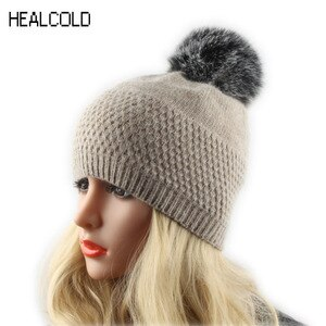 Women Winter Hat Knitted Wool Beanies Female Faux Fur Pompom Hats Ladies Warm Casual Beanie Caps  Skullies