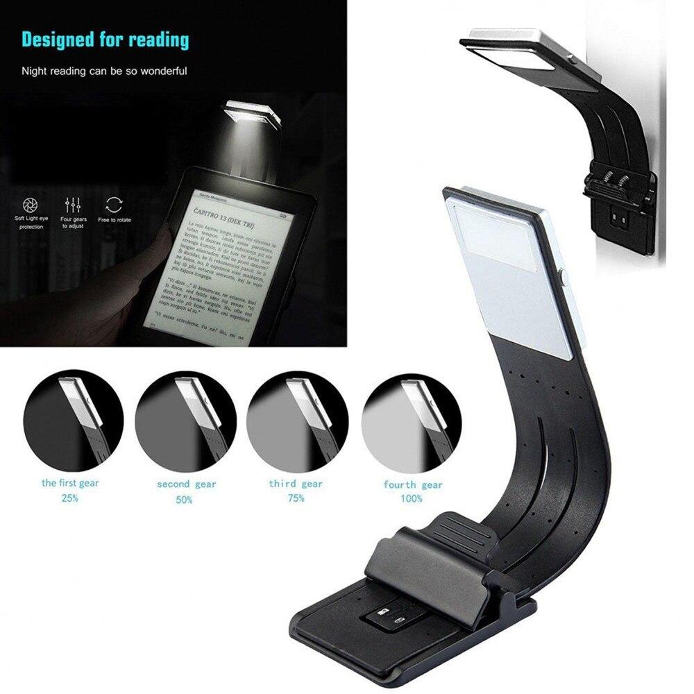 Magnética luz LED de libro recargable USB puerto portátil Lámpara de lectura desmontable con clip flexible para lectura y Libro 4 modos