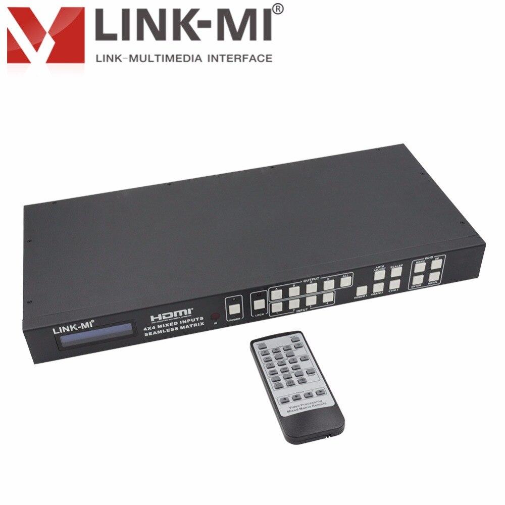 LINK-MI H944F HDMI VGA AV entradas mezcladas 2x2 conmutador de matriz de procesamiento de vídeo 4x4 Smart EDID HDMI procesador de empalme IR,RS-232,TCP