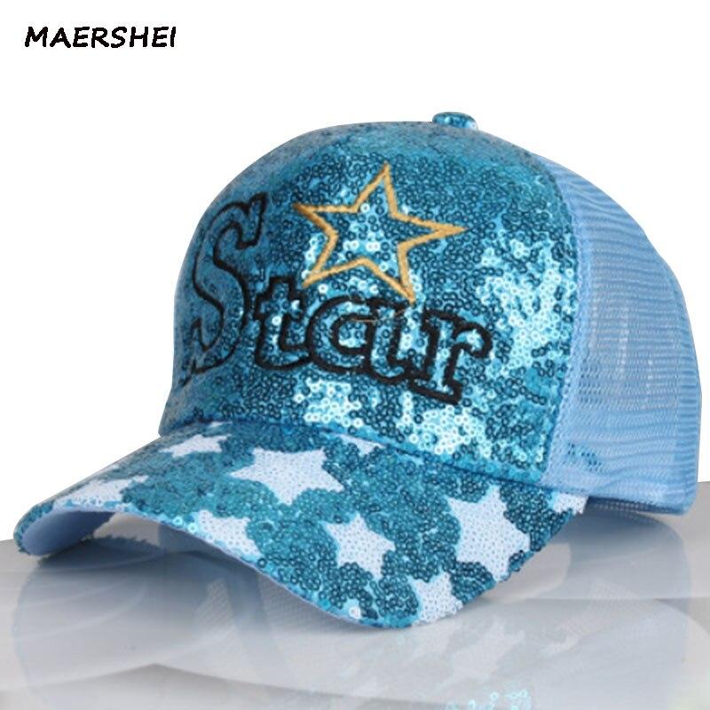 MAERSHEI mujer verano lentejuelas estrellas béisbol gorra coreana casquette homme mujeres ocio visera de viaje al aire libre transpirable sunscree