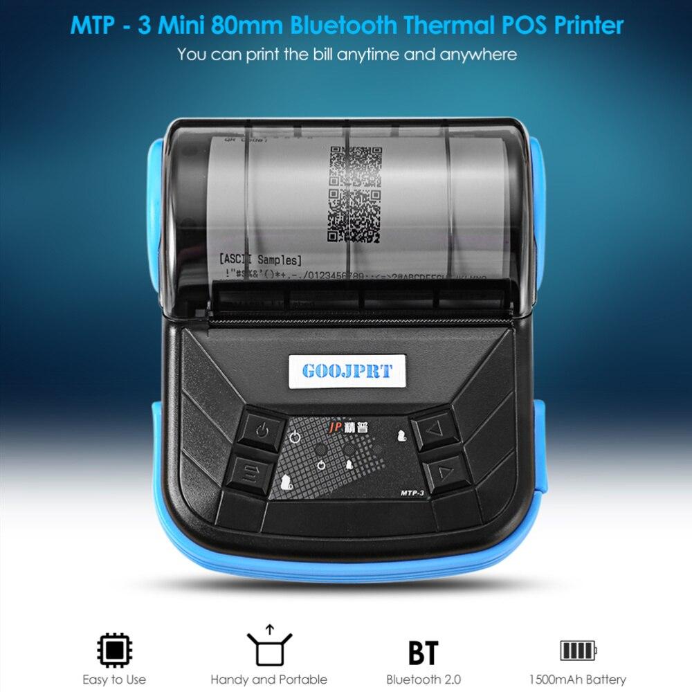 GOOJPRT, MTP-3, portátil, 80mm, con Bluetooth, impresora térmica, diseño ligero exquisito, compatible con Android POS, enchufe Multi-idioma EU/US
