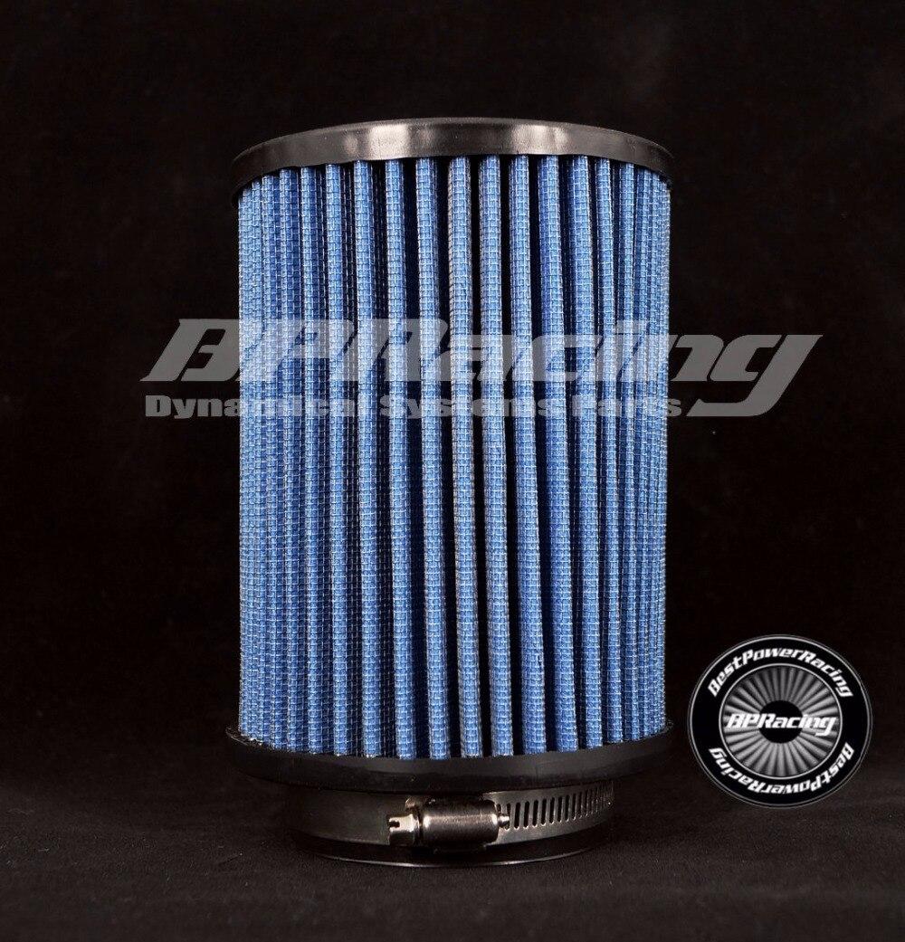 """BPRACING 3 """"pulgadas/76mm ID/8,85 total alto"""" pulgadas 225mm/Universal nuevo aire recto Inter algodón gasa filtro azul"""