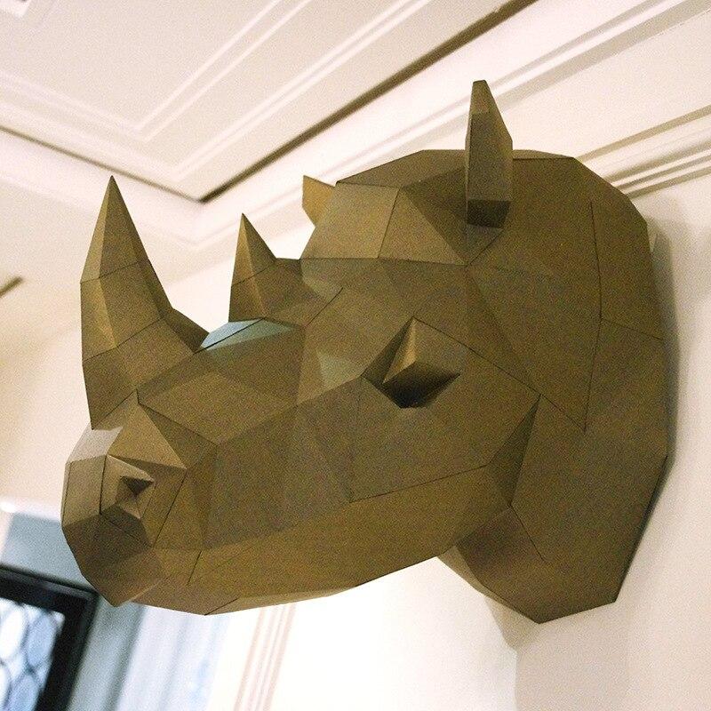 3D modelo de papel rinoceronte cabeza de rinoceronte papercraft animal decoración de pared decoración rompecabezas juguetes educativos DIY regalo para niños