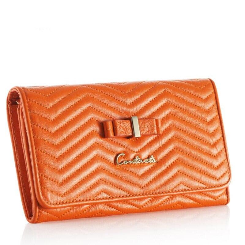 Bolso de mano para mujer con diseño de marca 2020 de Contacts, Cartera de piel auténtica con tres pliegues, carteras largas a rayas acolchadas, bolsa con cierre, bolsillo para monedas