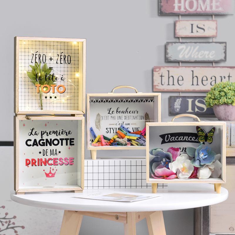 Nordic Style Wooden Glass Box Piggy Bank Home Living Room Desktop Decoration Ornaments Sundries Storage Box Storage Organizer
