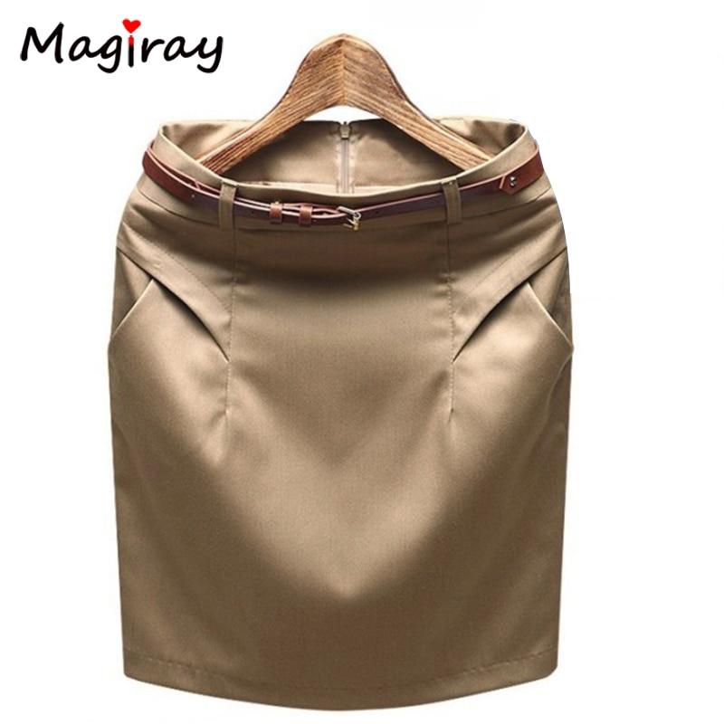 Magiray 2020 magro quadril mais tamanho bolso escritório mini lápis saia verão carreira trabalho formal terno saias feminino cintura alta c483