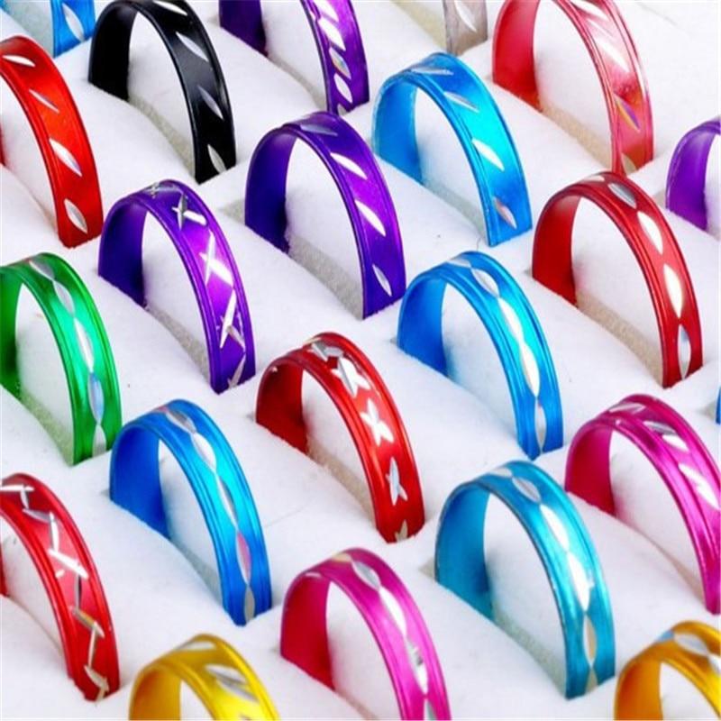 Pinksee anéis de alumínio 100, modernos, misturados, estilo colorido, a granel, preço baixo