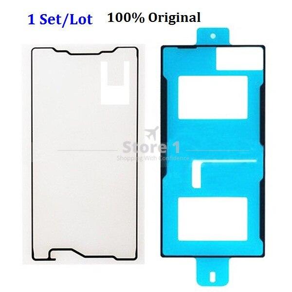 1 juego Original para Sony Xperia Z5 Compact E5803 E5823 LCD pegatina de marco de soporte + cubierta trasera de vidrio adhesivo impermeable