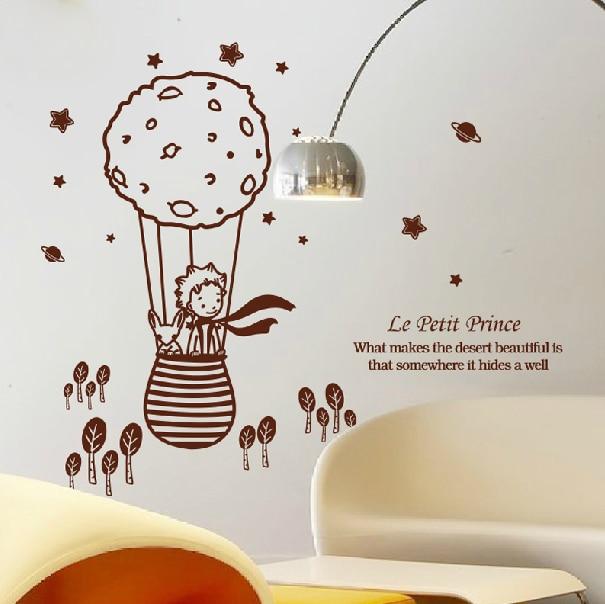 Autocollants muraux amovibles petit prince et la renard   Autocollants mignons et créatifs de grande taille 112.5x98 cm pour les chambres des enfants, décoration de la maison # T033