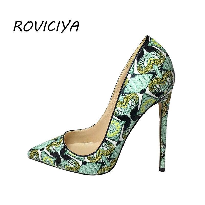 حذاء نسائي بكعب عالٍ 12 سنتيمتر ، حذاء مثير بكعب خنجر ، حذاء زفاف أخضر جرافيتي ، YG004 ROVICIYA