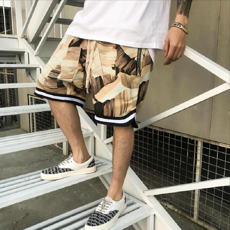 New 2018 Shorts Men Summer hip hop Shorts Flower Plaid Stripe kanye West shorts Big pocket high street Haren shorts