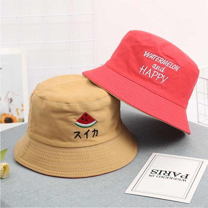 Sombrero de cubo de niños Reversible de dos lados 2019, gorro bonito de verano para niños y niñas, gorro de pescador para pescar en el sol para niños y niñas, fruta fresa
