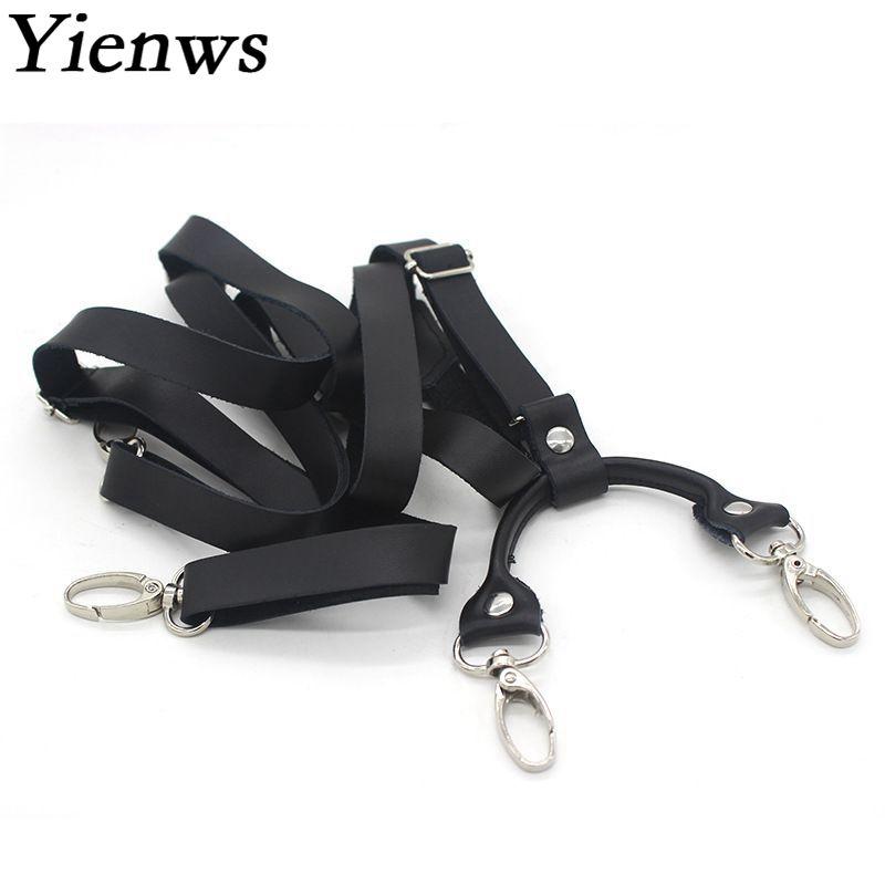 Yienws мужские подтяжки для брюк черные кожаные подтяжки для брюк мужские ретро подтяжки с крючком подтяжки YiA140