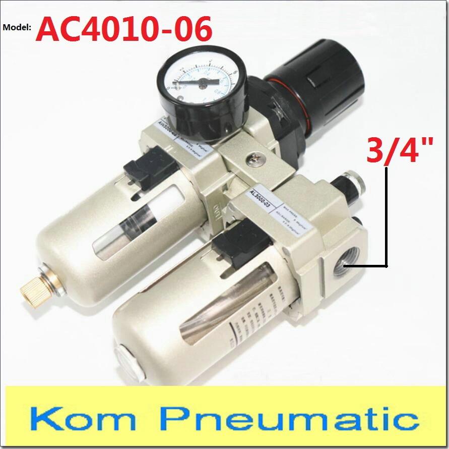"AC 4010-06 compresor de bomba neumática regulador de filtro de aire lubricador Union 3/4 ""bsp AW + AL 4000- 06 SMC tipo FRL con drenaje automático"