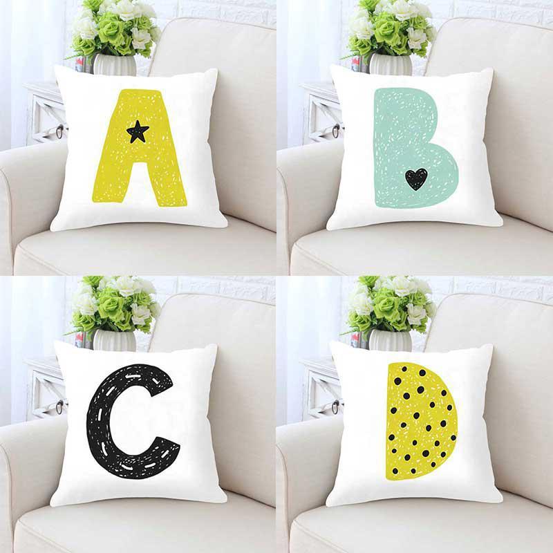 Bom novo alfabeto capa de almofada simples 26 inglês carta travesseiro caso a criança abreviado nome combinação diy personalizado para crianças