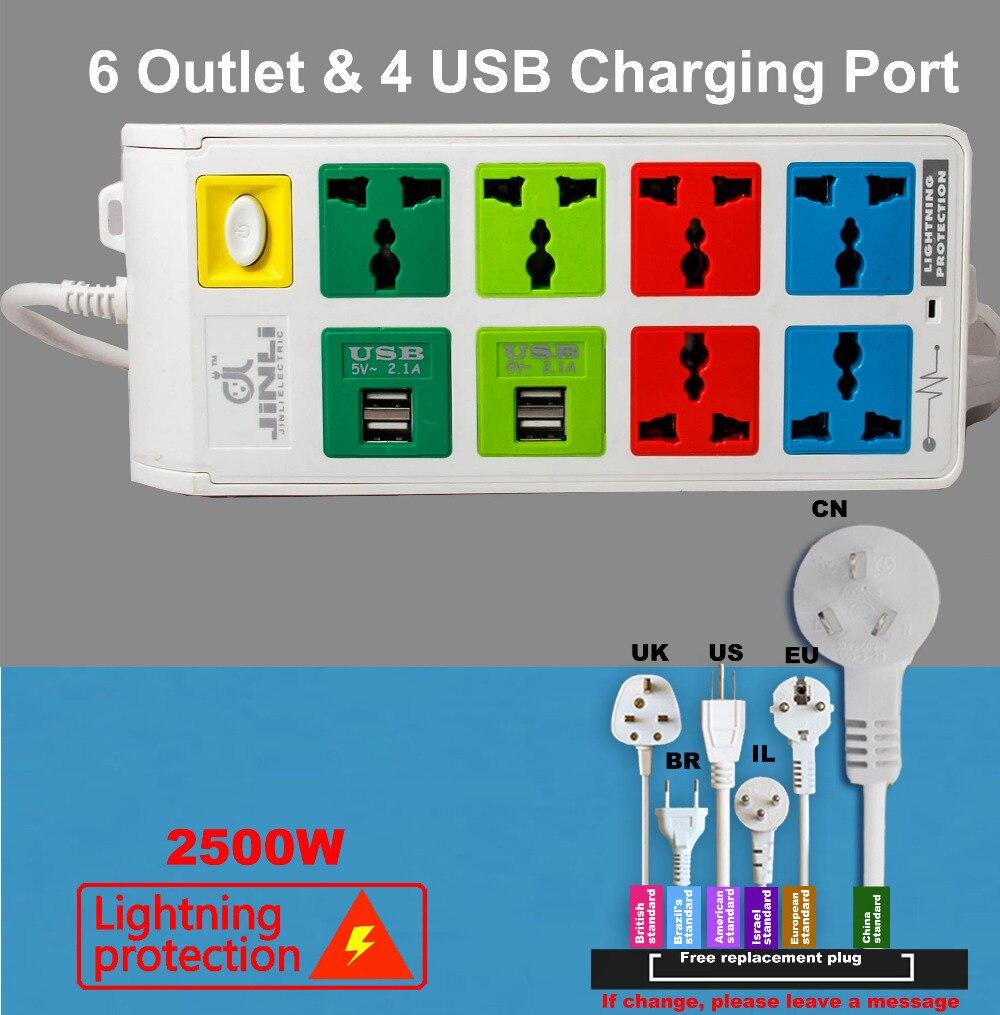 شاحن USB متعدد ، نظام حماية من البرق ، نوع الاتحاد الأوروبي/المملكة المتحدة/الولايات المتحدة