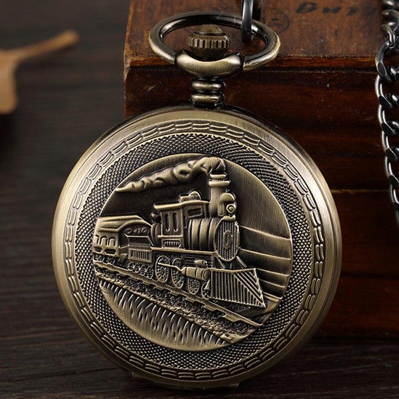 Steampunk tren locomotora bronce Retro Mehchanical reloj de bolsillo hombres grabar esqueleto reloj de mano collar con cadena regalo Unisex