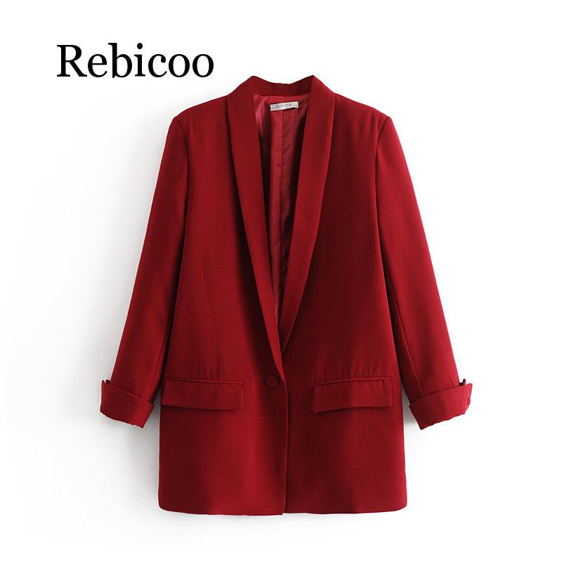 Women Solid Color Long Blazer Jacket Pleated Sleeve Loose Coat Office Lady Work Style Small Suit Single Button Blazer notch collar pleated panel blazer