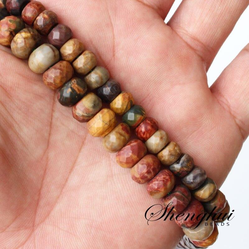"""Mini orden es $7. 5x8x6mm x 10mm faceteadas naturales rojo turquesas piedra Rondelle Ábaco DIY suelta perlas 15"""""""