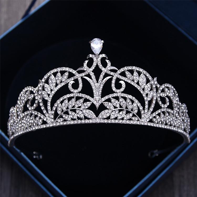 De lujo de circón cúbico corona de hojas accesorios para el cabello de boda de novia de cristal coronas flores diadema de diamantes de imitación del desfile de corona